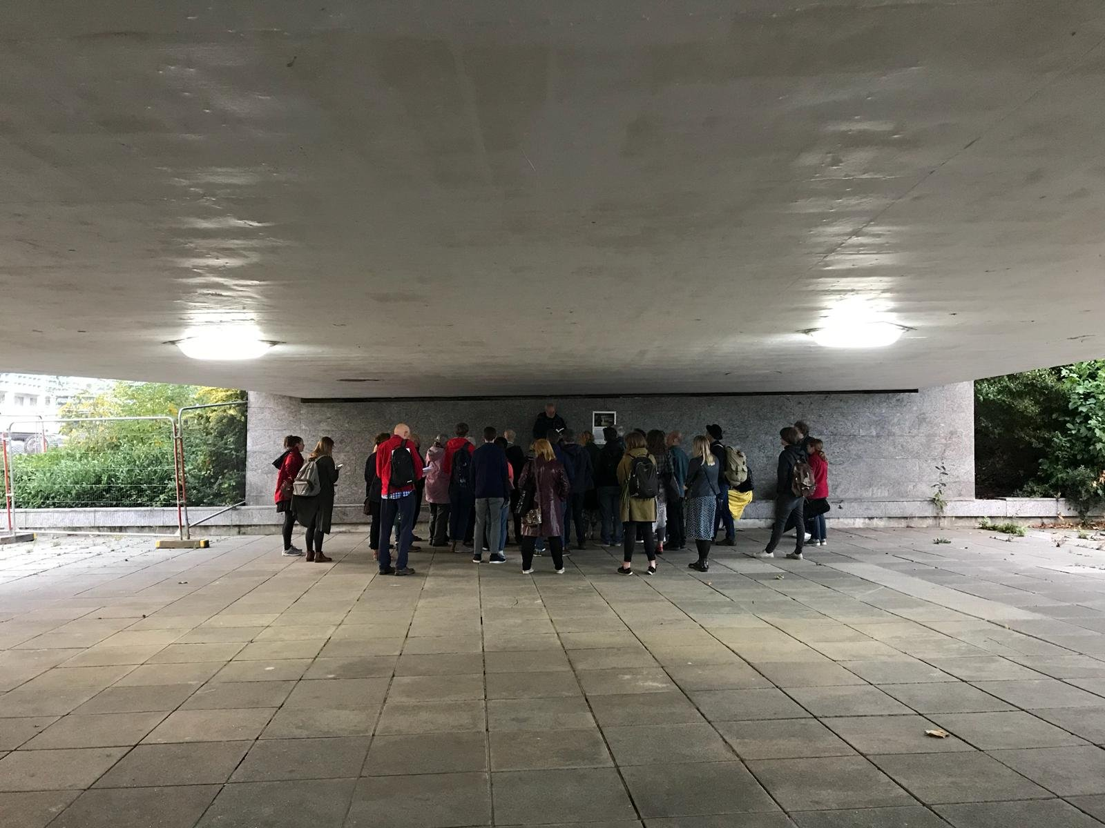 7-Phil Smith (2018) The MK Myth [walking reading tour and book launch] presented at Gulliver's Land Milton Keynes as part of The Groundwork Weekender (2018) curated by Tracing the Pathway. Image Credit = Laura Sweeney